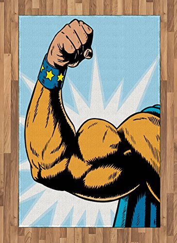 Comics Decor Area Rug by Ambesonne, Superhero Arm Flexing Muscles Powerful Fiction Character Cartoon Graphic, Flat Woven Accent Rug for Living Room Bedroom Dining Room, 4 x 6 FT, Merigold Blue (Most Powerful Female Superhero)