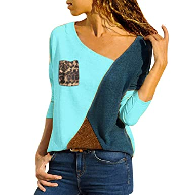 ee23499e1e9 Image Unavailable. Image not available for. Color  Byyong Color Block  Leopard Shirts for Women Plus Size Asymmetric Neck Patch Pocket Tops ...