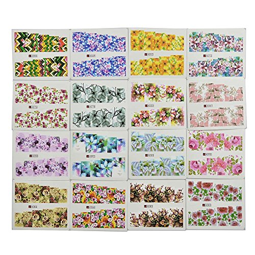 HuntGold 50 Sheets Colorful Floral Nail Art Stickers Nail Decals Manicure Water Transfer