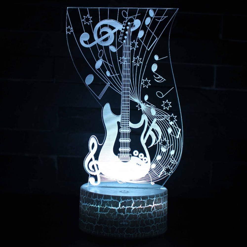 Nota musical Tema de la guitarra Lámpara 3D Luz de noche LED 7 ...