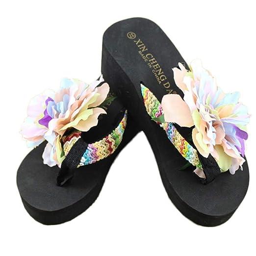 54af287ab Voberry Women s Sandal Platform Wedges Thong Flip Flops Heel Beach Flower  Slippers (6.5