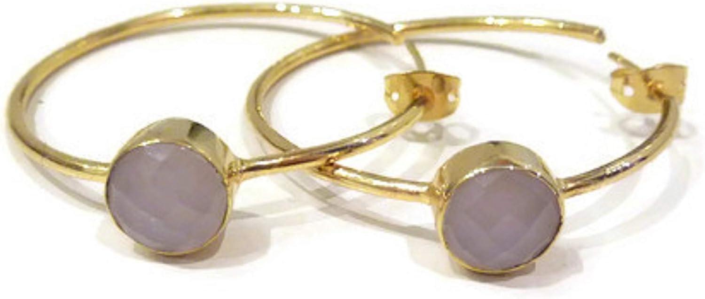 bijouxdemylene - Pendientes de aro chapados en Oro para Mujer o niña, con una Piedra de la Familia del Cuarzo, Color marrón, Piedras Naturales, Totalmente facetadas