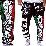 HHei_K Mens Trendy Drawstring Elastic Waist Digital Printing Loose Sports Hip-pop Pants Sweatpants