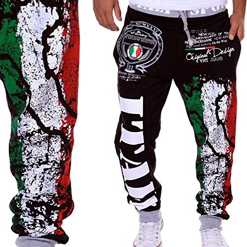 Price comparison product image HHei_K Mens Trendy Drawstring Elastic Waist Digital Printing Loose Sports Hip-pop Pants Sweatpants