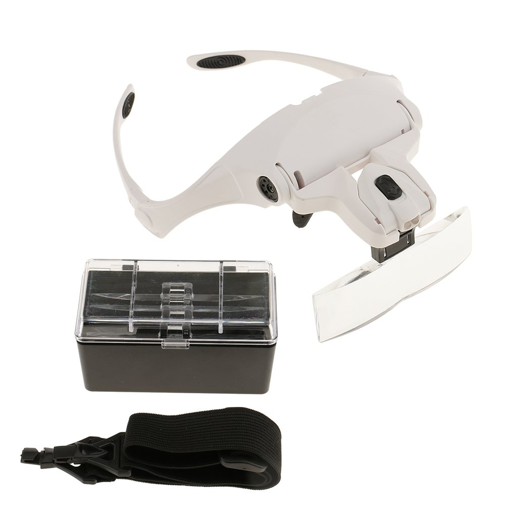 MagiDeal 5 Lens Headband Double LED Lamp Head Light Jeweler Watch Repair Precise Work Handset Magnifier Magnifying Glass Loupe
