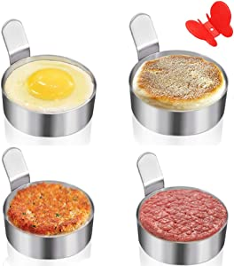 Egg Ring Yubng Stainless Steel Metal Egg Rings 4 Pack 3 Inch Omelet Mold Cooking Non Stick Pancake Ring Metal Kitchen Cooking Tool with Free Oven Glove