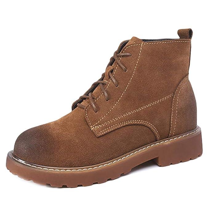 Martin Boots Womens Scrub Botines De Tacón Medio De Cuero Real Tops Planos Botines Casuales Para Niñas Zapatos De Compras Para Caminar: Amazon.es: Ropa y ...