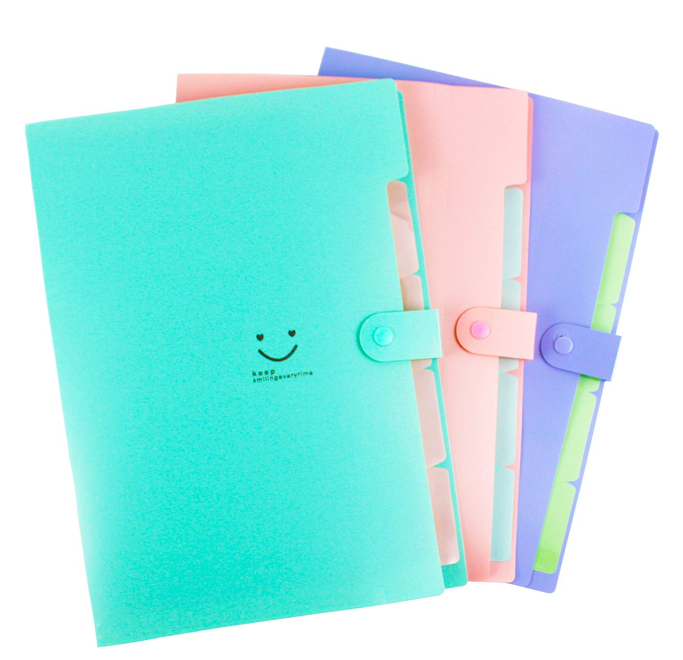 File Folders Expanding 5 Individual Pockets for Organizing and Storing Set of 3,File Letter Size with Snap Closure For School and Office Pink,Purple,Green