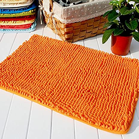 Hughapy Orange Non Slip Microfiber Carpet / Doormat / Floor Mat / Bedroom /  Kitchen Shaggy