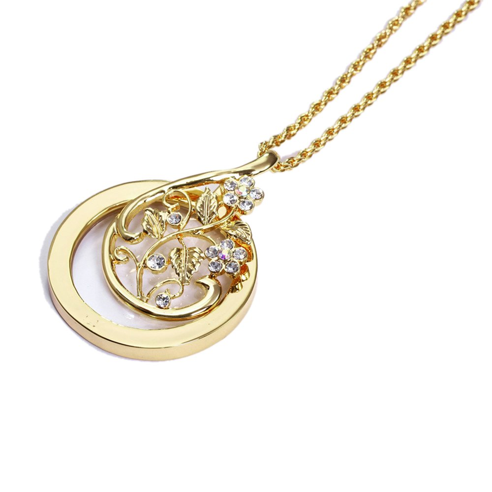Gold Plated Foliage Magnifying Glass Pendant Necklace 26 Inch Ornate Magnifying Glass Necklace