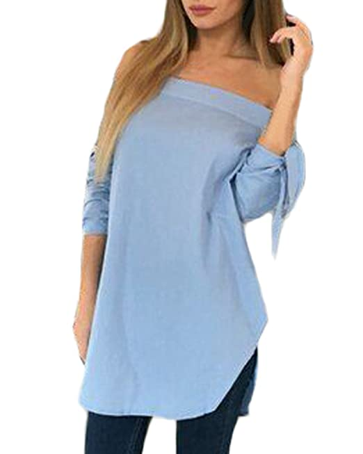 Auxo Blusas Muejer Camisas Blanco sin Hombro T Shirt Mangas Largas Azul ES 42/ASIAN