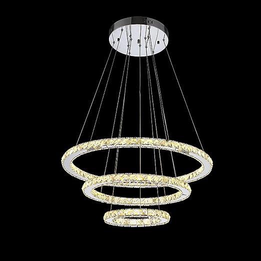 Modeen Cristal Cristal de Diseño Moderno LED Living Tres Anillos ...
