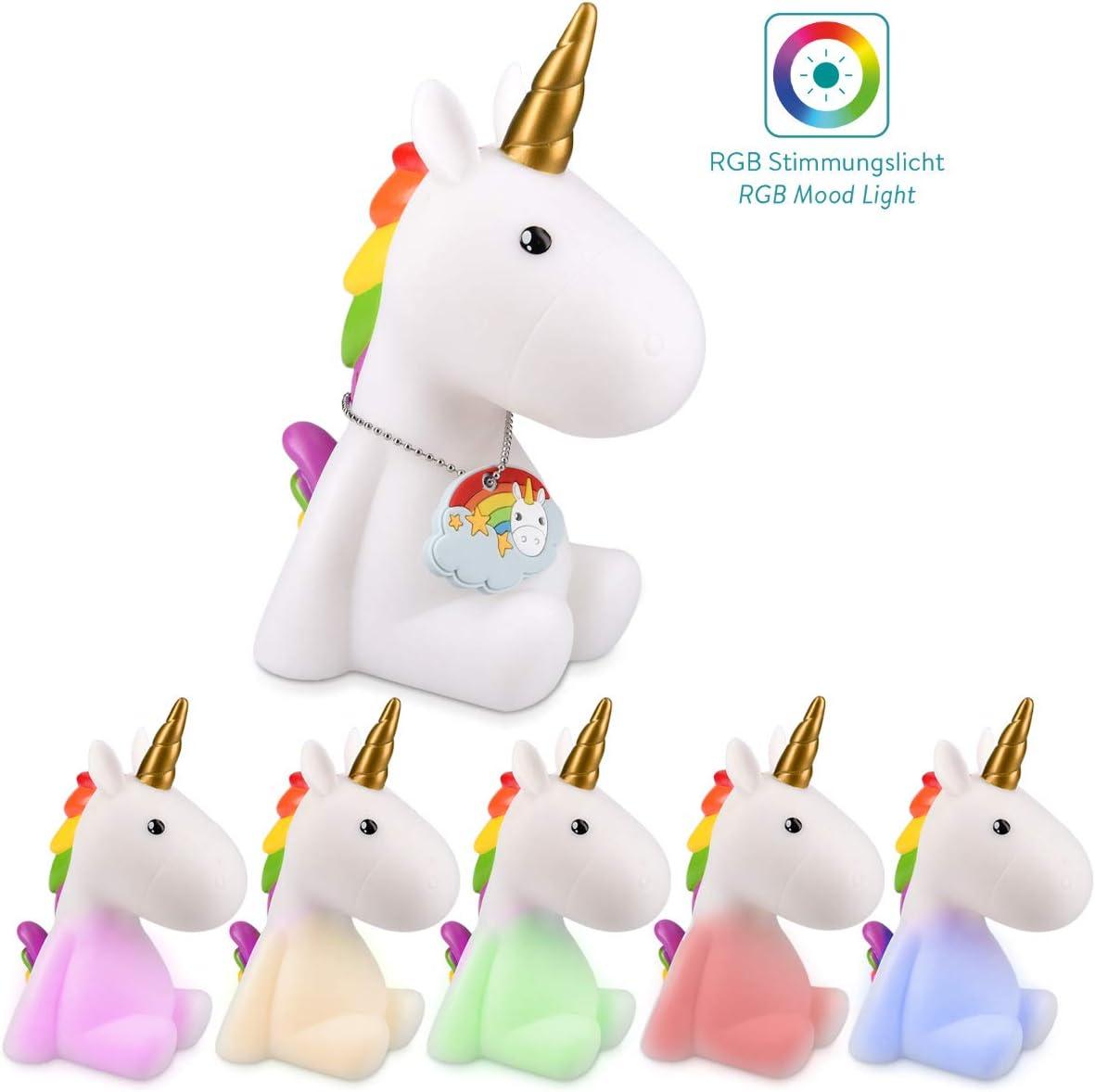 Navaris lámpara nocturna LED con diseño de unicornio - luz de color cambiante para niños bebés - unicornio blanco con colgante - luz para dormir