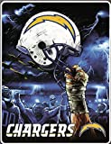 NFL San Diego Chargers 60-Inch-by-80-Inch Plush Rachel Blanket, Sky Helmet Design