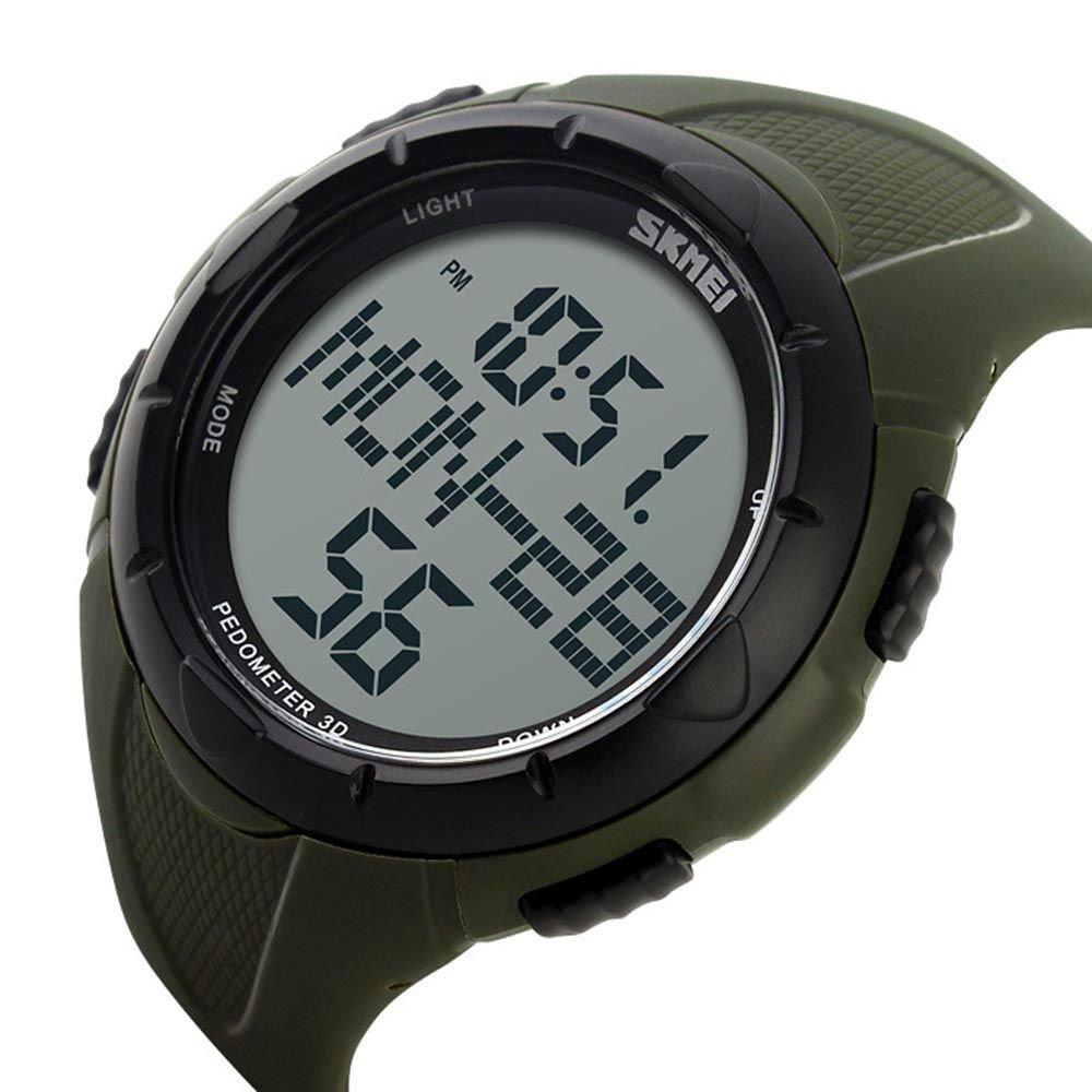 ユニセックススポーツウォッチ防水LEDデジタルウォーキング歩数計アウトドア   B01E5GS2VI