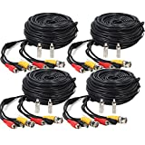 Henxlco 4 Pack 100ft Security Surveillance Camera Auido Video Power Extension Cable Pre-made All-in-One CCTV Wire