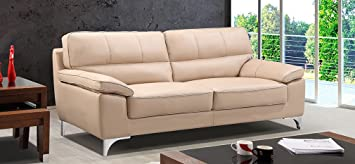 Leather Sofa World divano Piel sofá 3 plazas Taupe: Amazon ...