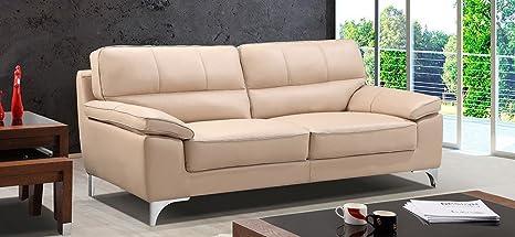 Leather Sofa World divano Piel sofá 3 plazas Taupe: Amazon ...