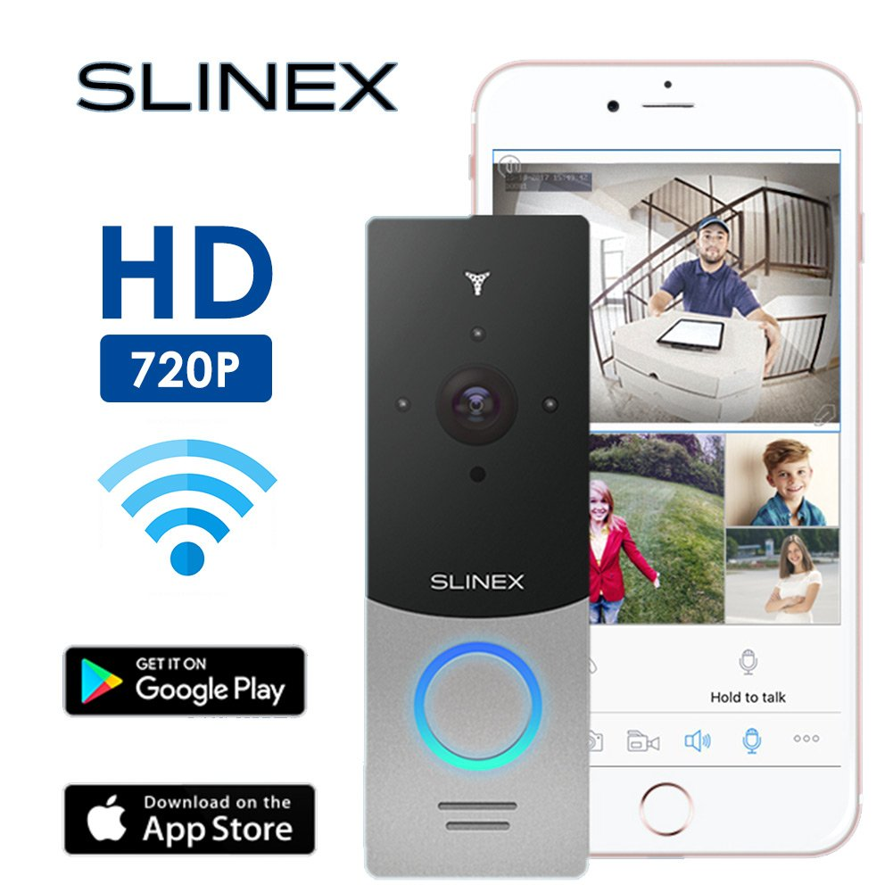 Slinex WiFi Wireless Video DoorBell. Best Design Doorbell Camera with Backlight of the touch button. Support MicroSD card, iOS&Android APP. IP65 Waterproof, Motion Detect, IR Night Vision, Silver.