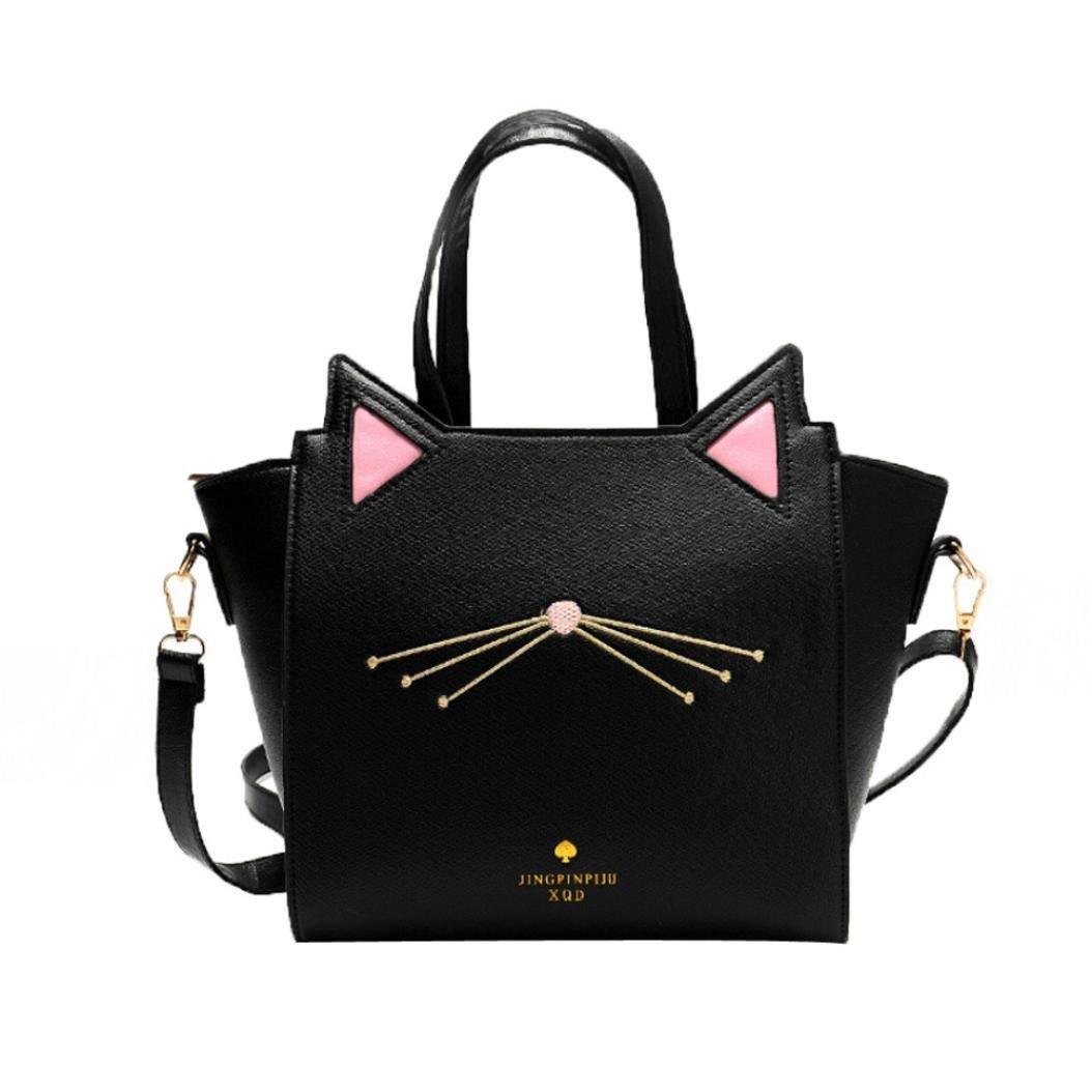 Rawdah Bolso de gran capacidad de mujeres encantadoras del oído del gato bolsa de hombro bolso (Negro): Amazon.es: Zapatos y complementos