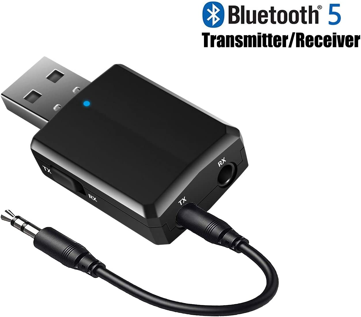 ISOBEL USB Bluetooth Audio Transmitter Receiver, 3 in 1 HiFi Wireless Audio Adapter, Bluetooth 5.0 EDR Adapter with 3.5mm AUX for Car TV Headphones PC Home Stereo, USB Power Supply, Plug and Play