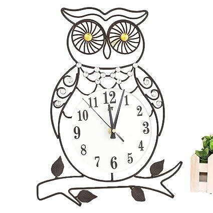 Amazon Com Winomo Iron Wall Clock Owl Design Mechanic Mute Quartz