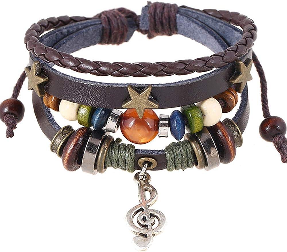 TOMLEE Bohemian Genuine Leather Charm Bracelet for Women Men Vintage Multilayer Adjustable Rope Beaded String Bracelets Handmade Braid Knot Jewelry