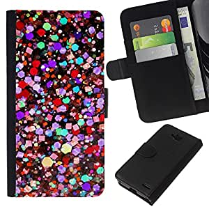KLONGSHOP // Tirón de la caja Cartera de cuero con ranuras para tarjetas - Colores vibrantes del trullo púrpura Rojo - LG OPTIMUS L90 //