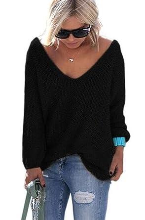 YACOPO Damen Herbst und Winter Arbeiten lose mit Langen Ärmeln V-Ausschnitt-PulloverSexy  Pullover mit V-Ausschnitt Pulli tollen Farben - 12 Farben und 4 ... bb74359299