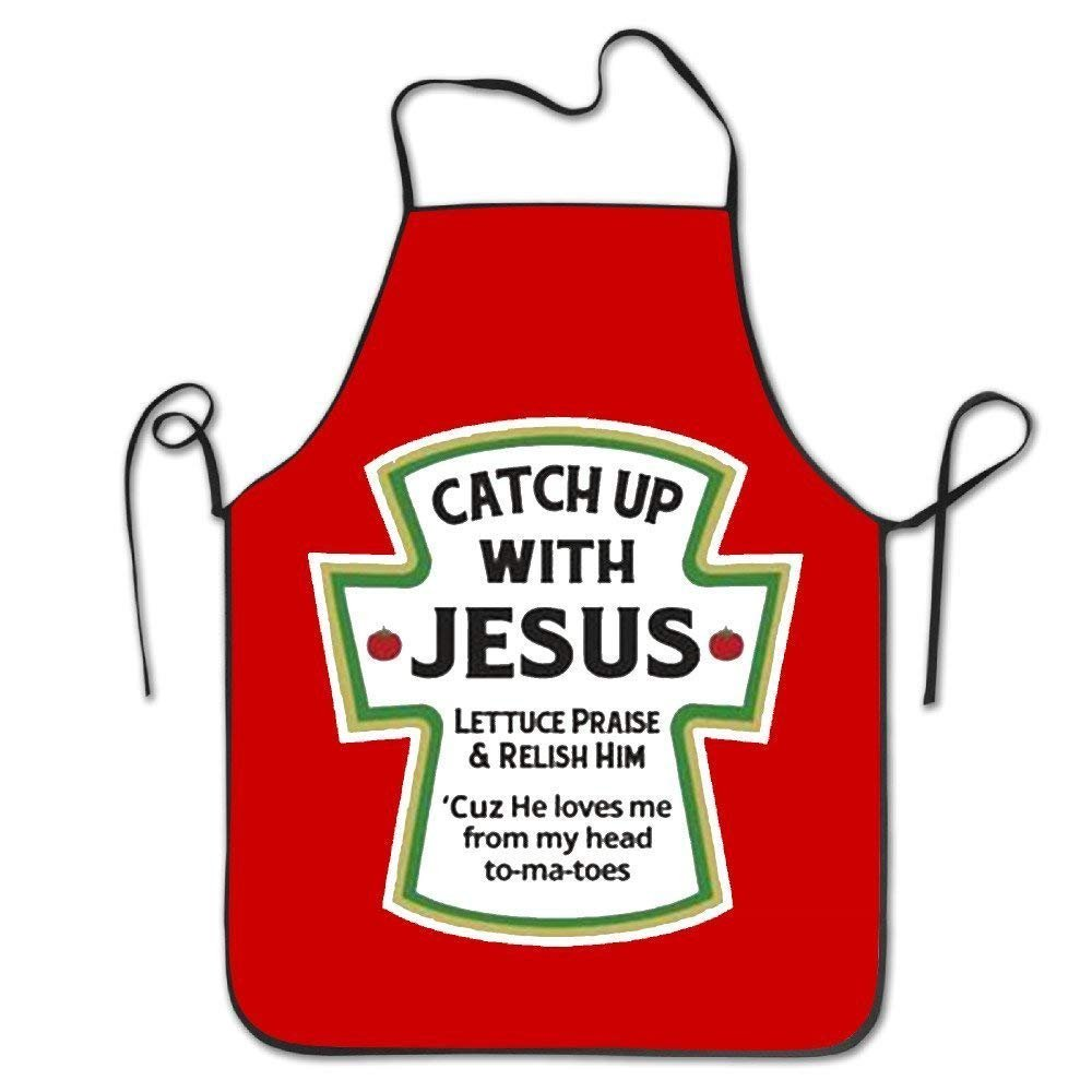Siwbko Catch Up with Jesus Christian Personalized Chef Aprons