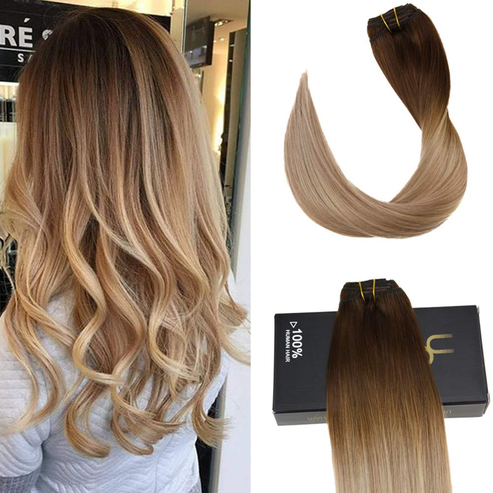 Ugeat 16 Clip in Bresilien Remy Cheveux Extensions #18/22 Highlight Blond Cheveux Naturel Clip in Extensions 40cm Ltd