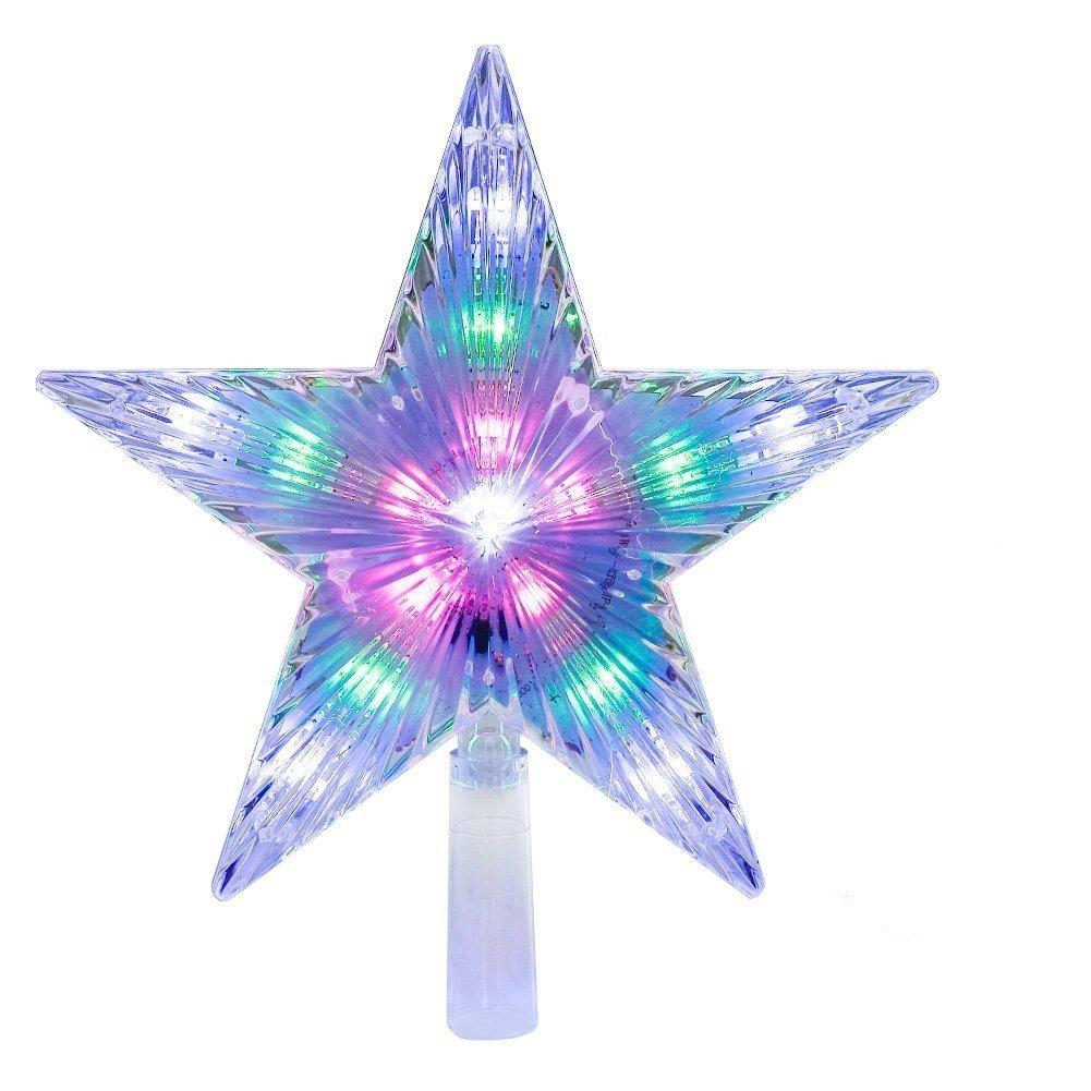 Asien No?l arboricole /étoile de No?l Brillant D/écor LED Transparent Lumineux en Haut du Sapin de No?l Arbre Star Party Ornement Festival