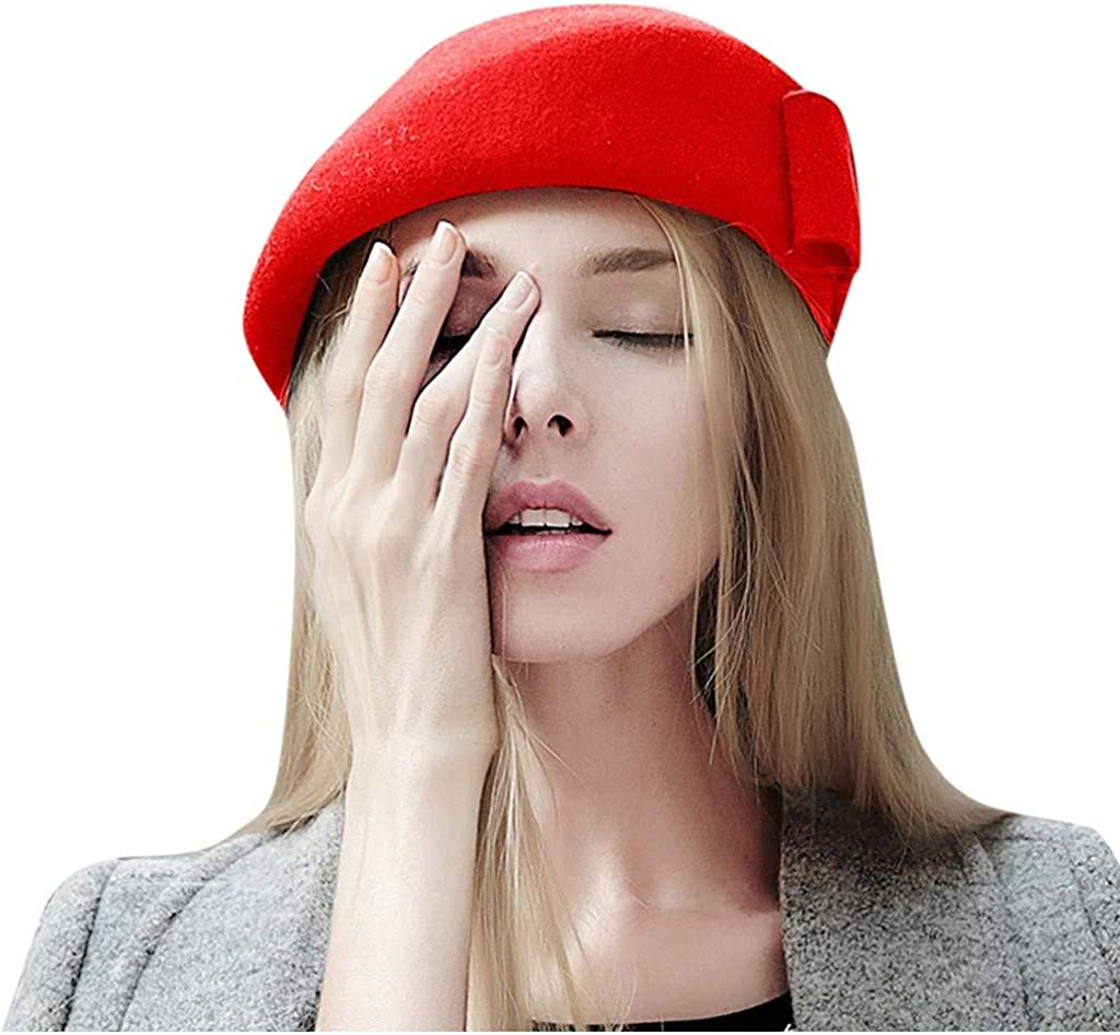 MEANIT Wool Beret Hat Solid...