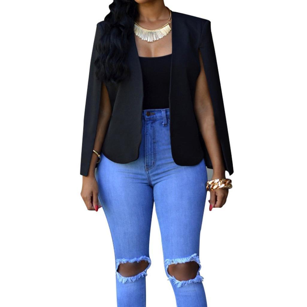 GBSELL Fashion Women Fall Short Cloak Coat Cape Cardigan Jacket Outwear (L, Black)