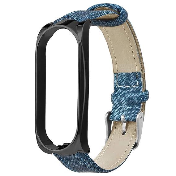 para Xiaomi Mi Band 3 Caja de Metal Pulsera de Mezclilla Correa de Reloj Correa de