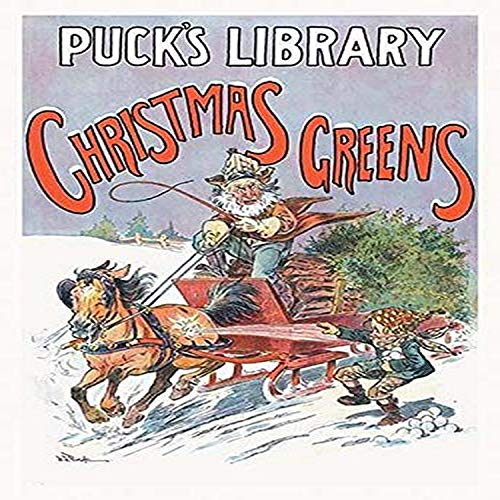 Christmas Illustration for Pucks Library magazine showing a boy throwing a snowball at a passing sleigh bringing Christmas trees to town Poster Print by JS Pughe (24 x 36) (Puck Magazine Christmas)