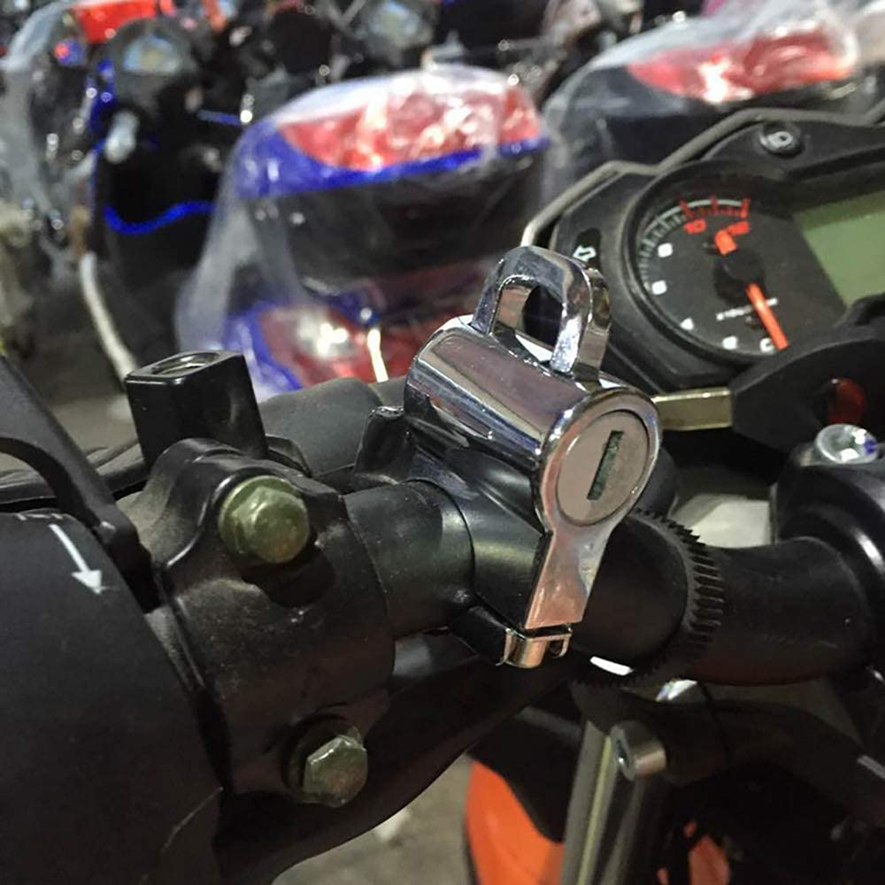 Colore : Argento Univesal Casco Moto Blocco moto appeso chiavi a gancio Set in alluminio cromato//nero per 7//822mm maniglia accessori bar CBFYKU