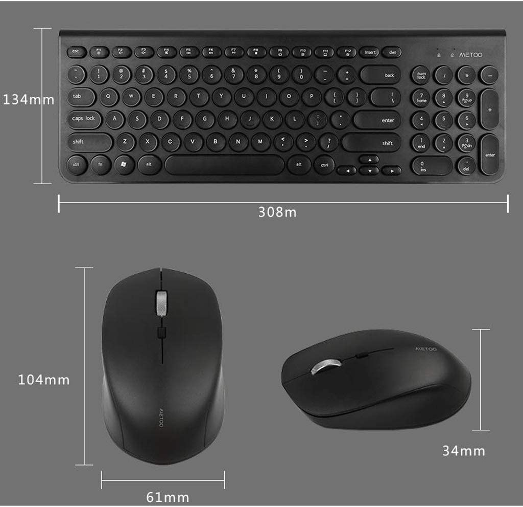 Color : Black Slim Thin Wireless Keyboard Mouse 2.4G Stable Connection Adjustable DPI with Numeric Keypad Full Size Wireless Keyboard and Mouse Sets