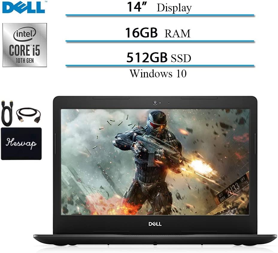 Dell Inspiron 3000 14 in Laptop Computer 2020 Newest, Intel Core i5-1035G4 (Up to 3.7GHz), 16GB RAM, 512GB SSD, HDMI, WiFi, Intel UHD Graphics, Bluetooth, Windows 10 w/ HESVAP Accessories