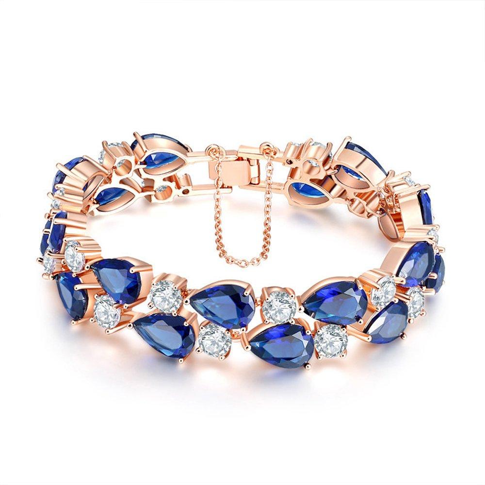 18K Rose Glod Plated AAA Cubic Zirconia Wedding Bracelet Blue Crystal Oval Tennis Bracelet for Women