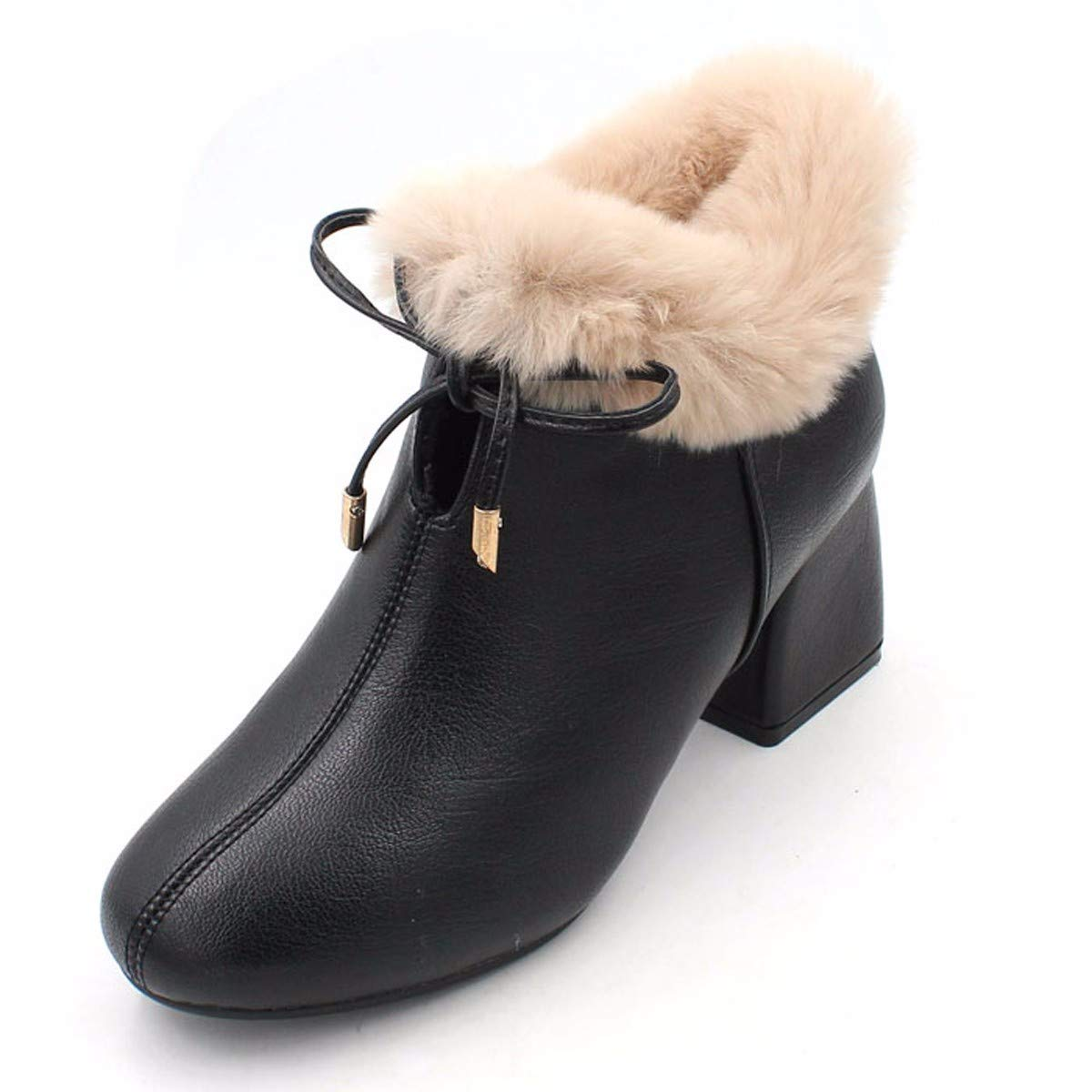 noir Thirty-seven HBDLH Chaussures pour Femmes Slim Bottes La Hauteur du Talon De 6 Cm en Hiver Tête voiturerée D'épaisseur Au Pied Peu De Bottes