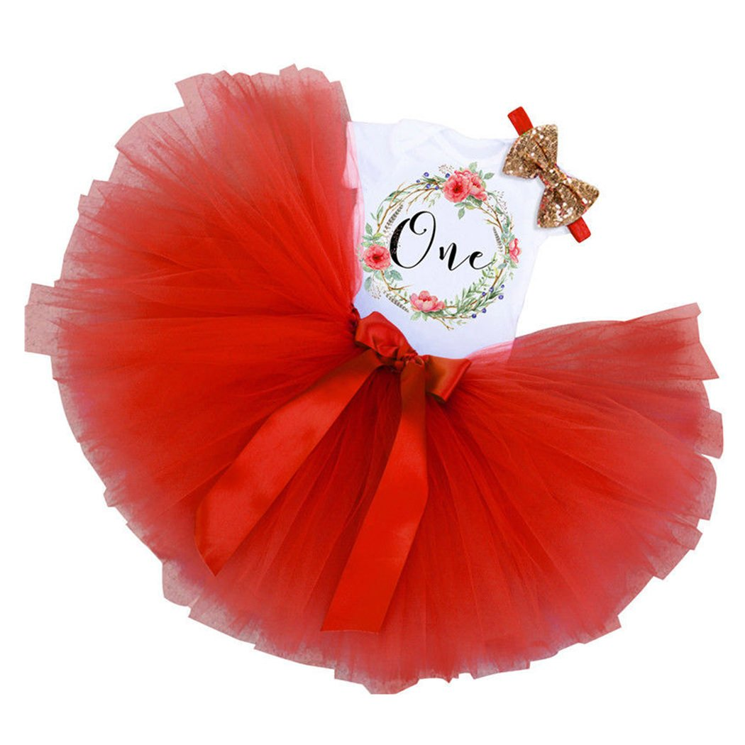 FUNOC 3PCs Baby Girls 1st Birthday Tutu Onesie Skirt Dress Headband Outfit