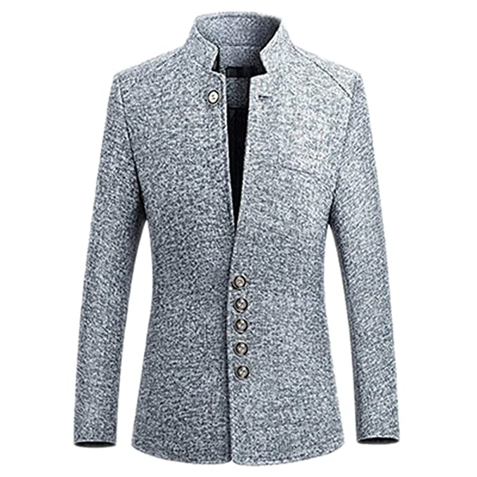 Chaqueta para Hombre de Estilo Casual de Negocios Chinos con Cuello en línea Blazer Masculino Blazer Slim Fit Gray 5XL: Amazon.es: Ropa y accesorios