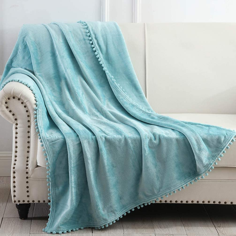 50 x 60 Soft Cozy Warm Blanket with Pompom Fringe for Couch Bed Sofa Chair Pink NordECO HOME Flannel Throw Blanket