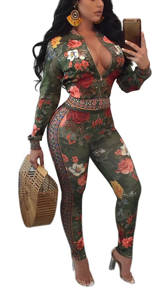 Vamvie Women's Sexy 2 pieces Vintage Floral Print V Neck Long Sleeve Bodycon Jumpsuits Skinny Romper Green M