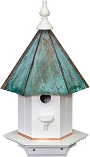 product image for Woodpecker Birdhouse - Weatherproof Azek Vinyl with Patina Copper Top Bird House Amish Handcrafted in Lancaster Pennsylvania USA