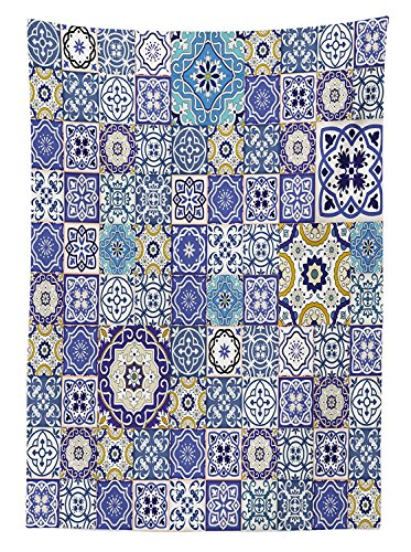 Yeuss Mantel Rectangular de Color Azul,Colecci¨®n Rich,Azulejos Antiguos,Estilo Marroqu¨ª,patr¨®n Patchwork,Estilo Oriental ¨¢rabe,Comedor,Cocina,Mesa Rectangular, 150 * 305 cm