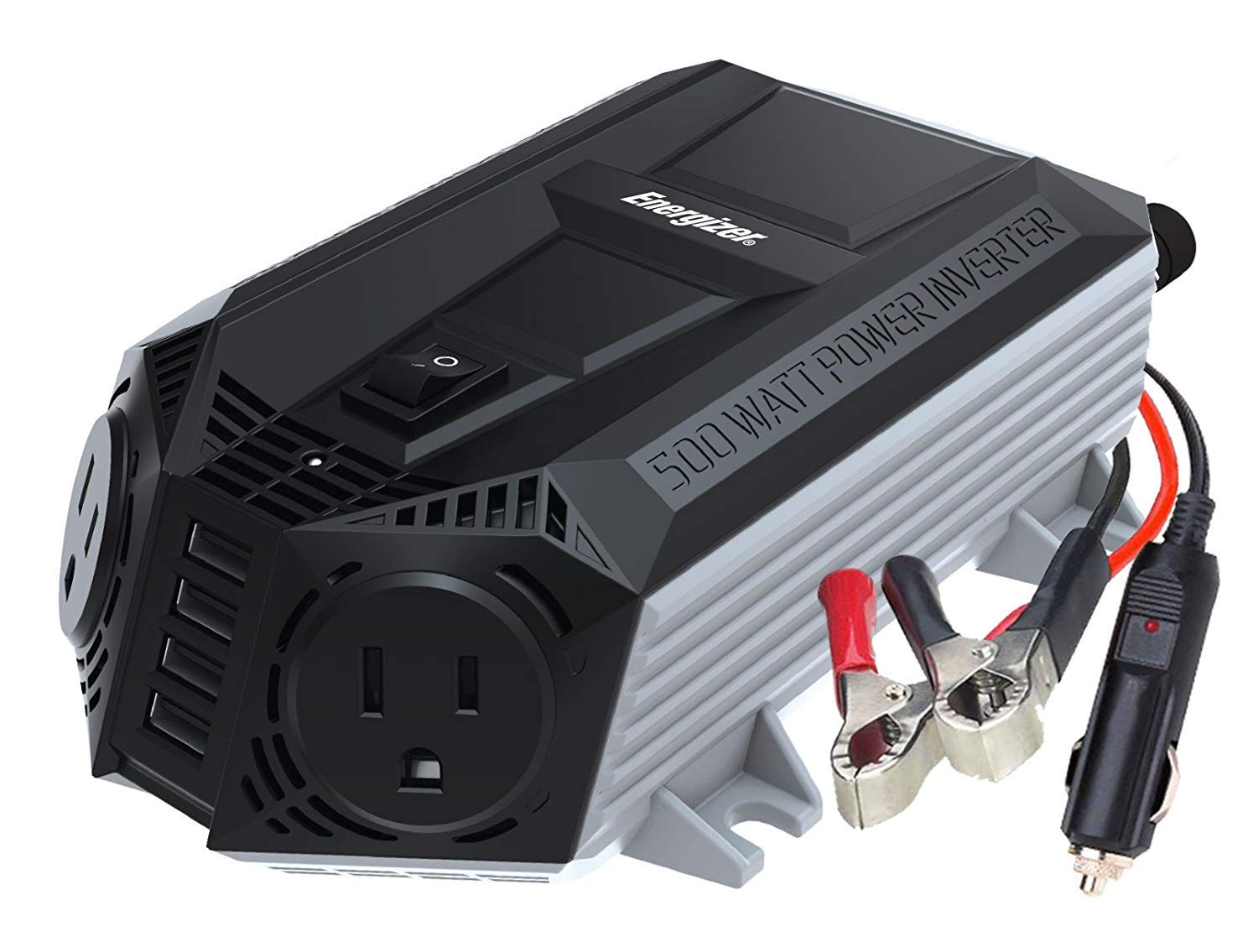 ENERGIZER 500 Watt Power Inverter 12V DC to AC + 4 x 2.4A USB Charging Ports Total 9.6A