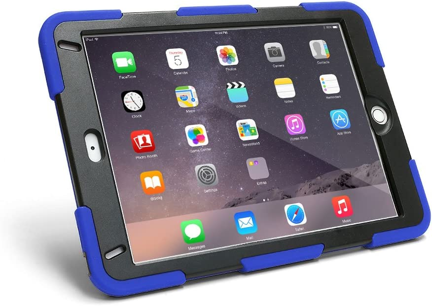 New iPad 6th Generation (2018) Case [Blue] with Screen Protector and Kickstand for Kids, works with 5th Gen (2017) 9.7 inch model