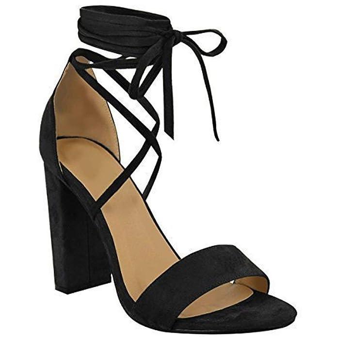 Spitze Gebunden Knöchel Umwickeln Sandalen Womens Damen High Heels Kolbig Schuh Größe